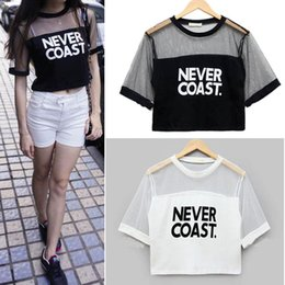 2015 New Sexy Women Girls Loose Crop Top T-Shirt Crew Neck See-through Gauze Tops Blouse Free Shipping
