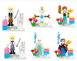 Wholesale 6pcs Girls Friends Minifigures Building Blocks Sets action Figures brinquedos Anna Elsa Frozen toys DIY bricks baby toy