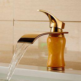 Wholesale Golden brass marble basin faucet hot cold tap bathroom single handle mixer bath mixer tap J K