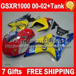 Racing 100% +Tank For SUZUKI GSX-R1000 K2 00 01 02 GSX R1000 K2 K1 red yellow blue 2000 2001 2002 Q710 GSXR1000 Fairing Kit+7gifts