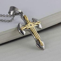 Croix d'argent en Ligne-breloques croix Vintage collier ancre pendentif en acier inoxydable bijoux en or en argent