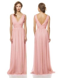 2015 Bridesmaid Dresses Sexy V Neck Chiffon Long Bridesmaid Dresses Ruffles Beaded Length Prom Dresses Formal Gowns evening dresses long