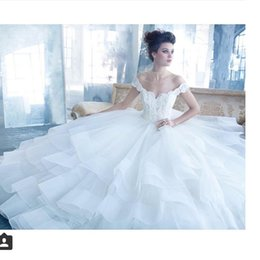 Off The Shoulders Organza Layers Wedding Dresses 2016 Lace Appliques Beads Crystal Sheer Bridal Gowns Princess Custom Made Arabic
