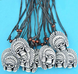 12pcs lot Imitation Yak Bone Carved Tribal Head Skull Pendants Adjustable Rope Necklace Halloween gift