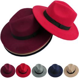 Wholesale N94 newest Men Women Jazz Bowknot Hard Felt Fedora Bowler Panama Wide Hat Brim Gangster Cap