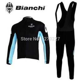 Wholesale 2014 men bianchi cycling Jersey kits in winter autumn with long sleeve bike jacket bib pants in cycling clothing bicycle wear
