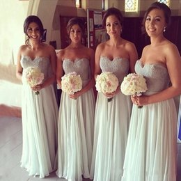 Bridesmaid Dresses Applique Lace Sequin A-Line Sweetheart Lace-up Full Length Ivory Chiffon Bridesmaid Gowns Prom Dresses Hot Sale