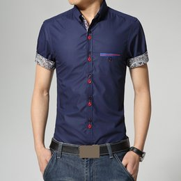 Wholesale Men Shirt Color Button Floral Cuff Collar Short Sleeve Fake Pocket Summer Business Casual Silm High Grade Male Blouse Tops