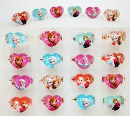 Wholesale 2016 New Arrival Love Heart Shape Lovely Mix Resin Cartoon Girls Princess Children Kids Rings Jewelry