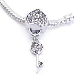 2015 Nuevos pendientes europeos clave del oro de la cerradura del corazón de la plata esterlina de la manera 925 encantan la joyería caliente para la cadena de la serpiente de las pulseras de Pandora quién desde corazón del oro de la pulsera 925 fabricantes