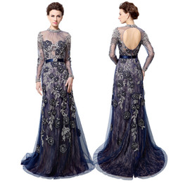 Wholesale Navy Blue Long Sleeve Mother Of Bride Evening Dress Sheer High Neck Crystal Embroidery Prom Party Gowns Dubai Rode De Soiree LX014