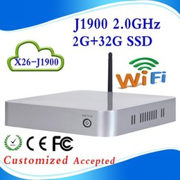 Wholesale low voltage CPUs mini itx mini pc j1900 htpc fanless X26 j1900 G ram g ssd can conect to Intenert and also in intra net
