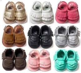 EMS free shiping!Wholesale 2016 Newest Rubber sole Baby Sandal Tassel design Baby Summer Prewalker Baby Leather Sandal Baby moccasin sandals