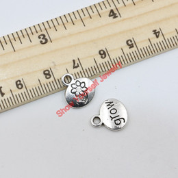 20pcs Tibetan Silver Plated Flower Letter Words Grow Charms Pendants for Jewelry Making DIY Handmade Craft 13x11mm A118 Jewelry making DIY