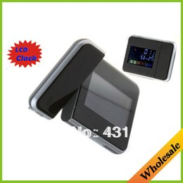 Wholesale 3Pcs Drop shipping fashion Digital LCD Screen color LED Projector creative Alarm Clock time design Weather Station