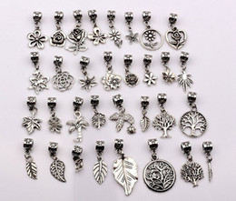 Wholesale Hot Sale Antique silver mixed flowers trees leaves Dangle Beads Fit European Charm Bracelet style p17
