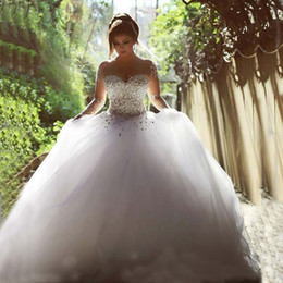 2016 Wedding Dresses Real Image Luxury Crystal Bridal Gowns Beads Sheer Long Sleeves Wedding Dress Crystals Backless Floor Length Tulle