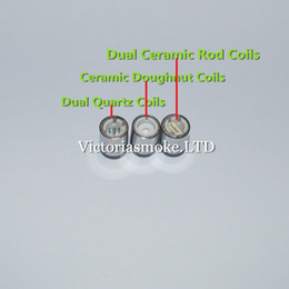 Wholesale Newest Dual Quartz Coils Ceramic Doughnut Coils Dual Ceramic Rod Coils for Cannons Bowling Atomizer Glass Globe Atomizer Glass Tank E Cigs