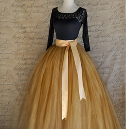 Wholesale Elegant Over Skirts Wedding Dresses Ball Gown Full Length Antique Gold Tulle Skirt For Women Weddings and Formal Wear Tutu Skirt with Ribbon