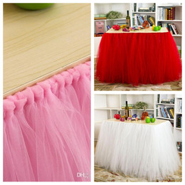 Wholesale 2015 Tulle Tutu Table Skirt Tutu Ball Gown Table Decoration for Weddings Invitation Birthdays Baby Bridal Showers Parties Tutu Party Decor
