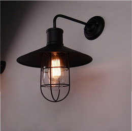 Classical Black Loft Iron Wall Lighting Antique Industrial America Country Wall Light Retro Home Hall Beside Night Lights Decor