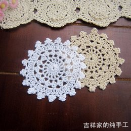 Wholesale pic round crochet lace felt fabric doilies crochet coasters zakka vintage props pot holders placemats felt