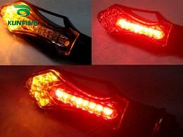 4xMotorcycle LED Turn Signals Light Indicators 12V 12LED Red  Yellow LED Brake Light Multi-Functional Arrow Turn Signal KF-V3006