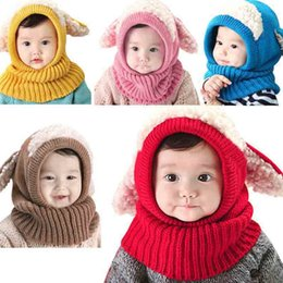 Wholesale Hot Sales Winter Baby Kids Children Warm Hat With Hooded Scarf Earflap Knit Wool Warmers Beanie Caps PX216
