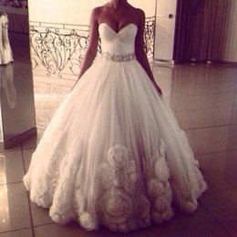 Custom Made Rose Flower Tulle Elegant Ball Gown Wedding Dresses No Sleeve Long Bridal Gowns Wedding Prom Dress Plus Size Vestidos Exquisite