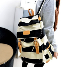 Canada 2016 Hot Sale Nouveau mode Sac à dos en forme de grande capacité Stripe Navy Style School Canvas Backpack Cheap for Sale / Ipad Bag Livraison gratuite Offre