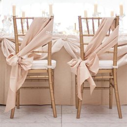 Wholesale 2015 DIY Champagne Wedding Decorations Chiffon Chair Sash Pieces Set Meters Anniversary Party Banquet Accessories