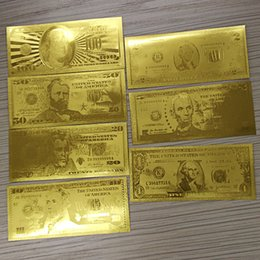 Wholesale 7pcs k Gold Foil Banknotes Dollars World Paper Money Collections Wedding Gift metal craft