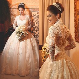 Vintage Lace Wedding Dresses with Long Sleeves 2016 Applique Beads Ball Gowns High Neck Bridal Plus Size wedding Style Arabic Free shipping
