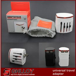 All in one Universal World Travel AC Power Multi Adapter EU UK US AU with 2 USB White black Color 50pcs up
