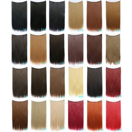 Wholesale 22 quot g Straight Flip In Hair Extensions Hot Resistant Synthetic Hair Extensions Multiply Colors
