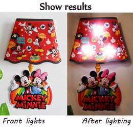 Wholesale Stickers For Walls China - Toys Wall Lights LED Cartoon Night Lights For Kids Bedroom Lights China Supplier Sticker Lamp Cartoon Mickey Minnie Wall Lamp