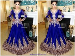 2017 Royal Blue Muslim A-line Evening Dresses Long Sleeves V-neck Evening Gowns with Lace Appliques Beaded Arabic Prom Gowns