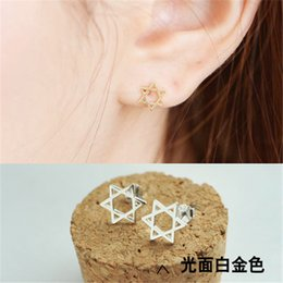 Korean version S925 sterling silver star with hollow hexagonal hexagram earrings hypoallergenic earring Wishing Star
