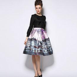Acheter en ligne Dame ville-2015 femmes élastiques haut taille à genou jupe jupes mixtes ladies plissé jupe rétro city imprimé jupe saia das mulheres G367
