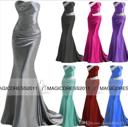 Wholesale Custom made Prom Evening Dresses Bridesmaid Occasion Dress Mermaid Sweetheart Silver Grey Burgundy Purple IN STOCK Beaded Formal Gowns