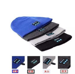 Wholesale Cowboy Church Caps Wholesale - Bluetooth Music Knitted Hat Soft Warm Wireless Speaker Receiver Outdoor Sports Smart Cap Headset Headphone support for iphone 6s Samsung