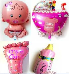 Wholesale globos baby girl FOIL balloon milk bottle balon baby stroller baloons baby foot balao for newborn party princesa balloons