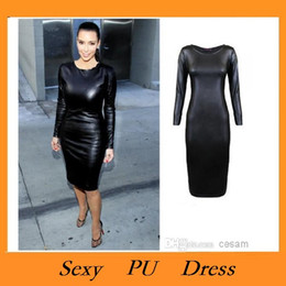 Wholesale High quality Sexy Women PU Dress Leather Look Long Sleeve Crew Neck Midi Party Dress Clubwear Black Dropshipping