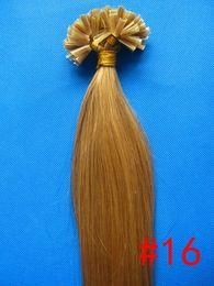 "wholesale -200s pack 1g s 14''- 24"" Keratin Stick u Tip Human Hair Extensions Brazilian hair 16# ash blonde dhl Fast shipping"