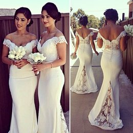 Stylish Mermaid Lace Bridesmaid Dresses Off The Shoulder Sleeveless Prom Gown Floor Length Long Evening Dress