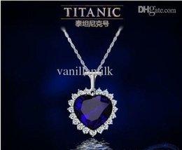 Comercio al por mayor de Lujo Corazón de cristal de zafiro del Titanic collar de cadena de la joyería pendiente de la Plata desde colgante de zafiro titánica fabricantes