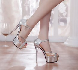 Wholesale Sexy Silver Prom Heels - Sexy New Fashion See Through High Heel Bridal Shoes fish head shoes Peep toes Wedding Shoes For Prom Evening Wedding Party In Stock