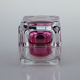 Wholesale 30ml Hot Pink Crystal square acrylic jar square bottles online ml square cosmetic jar ml empty square plastic jar