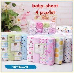 Wholesale 4pcs newborn baby bed sheet bedding x76cm set for newborn super soft crib cheap linen cot boy girl cotton blanket