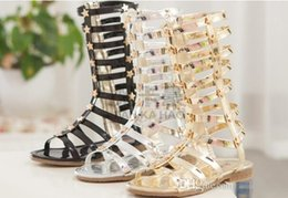 Girls Sandals Hollow Weave Star Flat Sandal Shoes High-boot Campagus 2015 New Fashion Gladiator Shoe 26-33Yard Golden Silver Black
